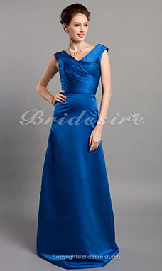 A-linje V-hals Prinsesse Stretch Sateng Gulvlengde Bridesmaid/ Wedding Party Kjole