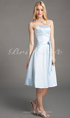 A-linje Sateng Prinsesse Knelengde Stroppeløs Bridesmaid/ Wedding Party Kjole