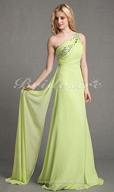 A-linje Chiffon Sweep slep One-Shoulder Aftenkjole