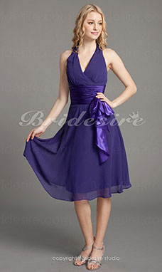 A-linje V-hals Halter Chiffon Matt Sateng Knelengde Bridesmaid/ Wedding Party Kjole