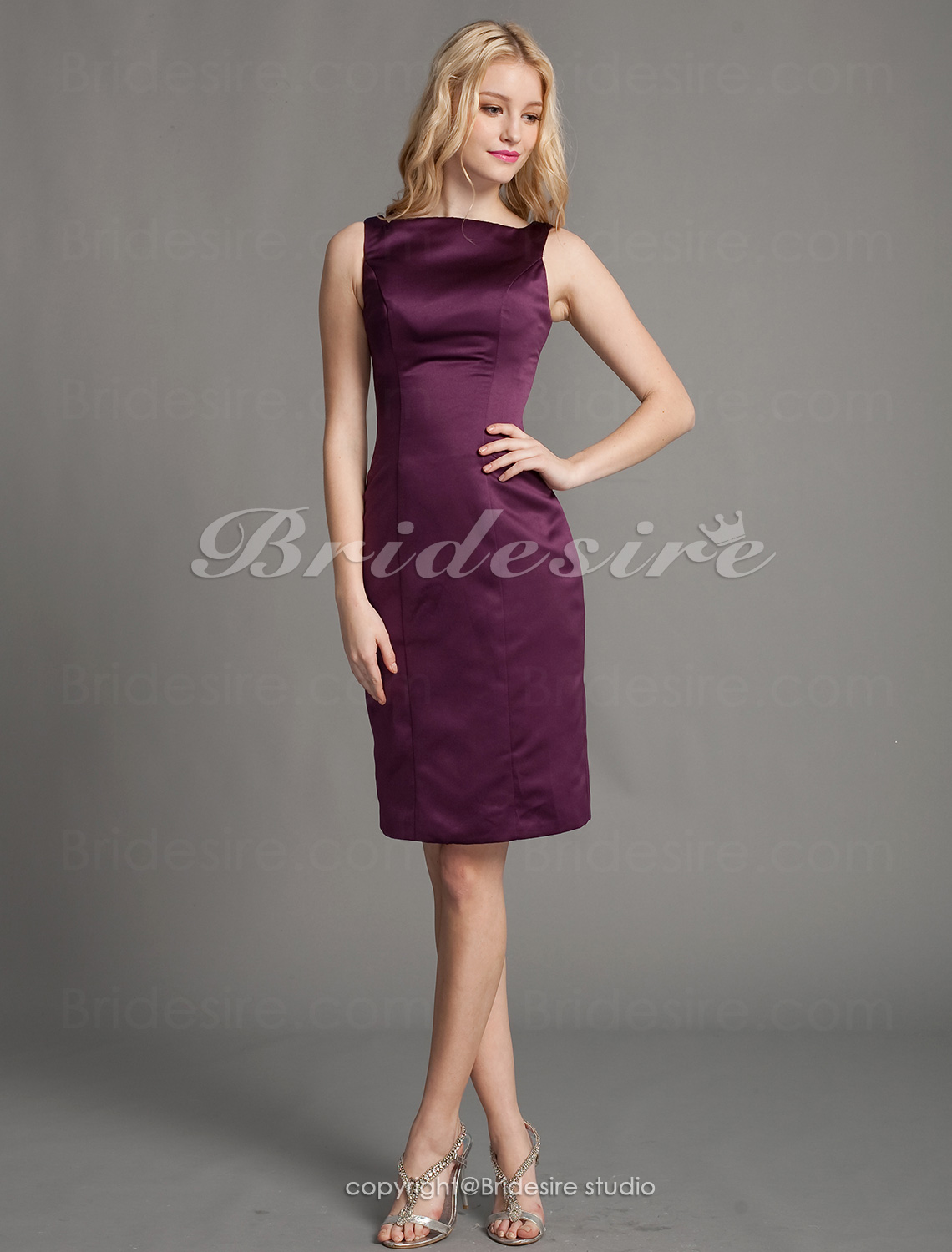 Kappe/ Column Sateng Knelengde Bateau Bridesmaid/ Homecoming/ Wedding Party Kjole