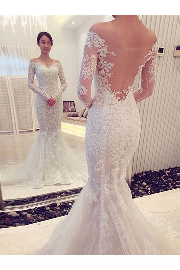 Trumpet/Mermaid Sweetheart Long Sleeve Lace Wedding Dress